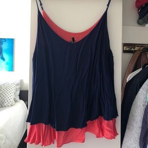 Navy/coral flowy tank